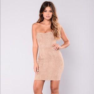 Fashion Nova Suede Taupe Strapless Dress Size Sm